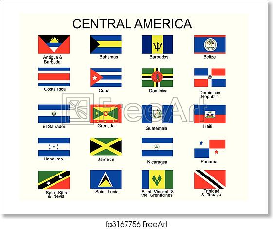 free art print of list of all flags of central america countries