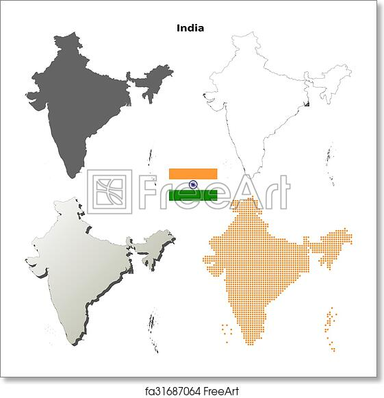 Free art print of india outline map set india blank detailed vector free art print of india outline map set thecheapjerseys Image collections