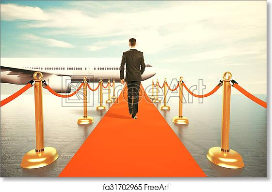 Art Print Of Businessman Walking On Red Carpet To The First