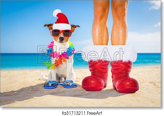 free art print of dog and owner as santa claus on christmas at the beach - Christmas At The Beach
