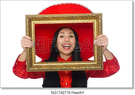 Free Art Print Of Mexican Woman With Picture Frame On White