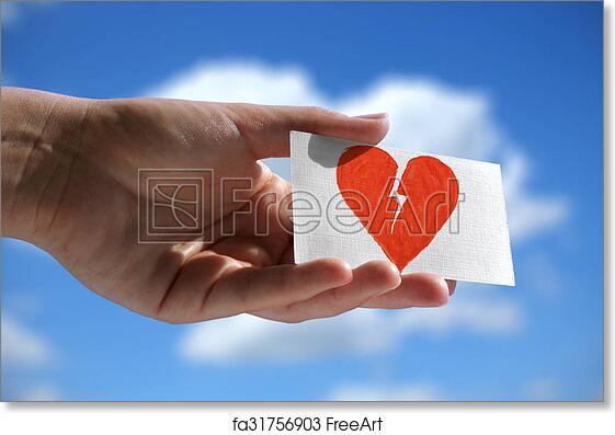 Free Art Print Of Symbol Of Broken Heart Visiting Card With Symbol