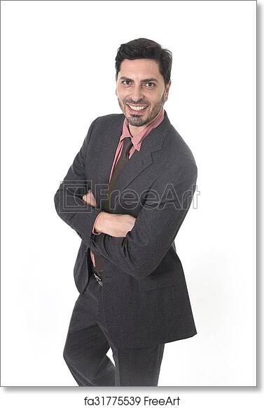 9fb933f72379 Corporate portrait of young attractive businessman of Latin Hispanic  ethnicity smiling in suit and tie standing isolated on white background  with folded ...