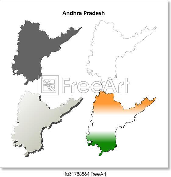 Free art print of Andhra Pradesh blank outline map set. Andhra ...