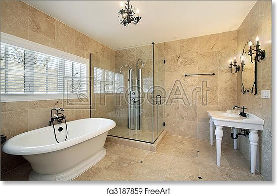 Free Art Print Of Master Bath With Large Glass Shower
