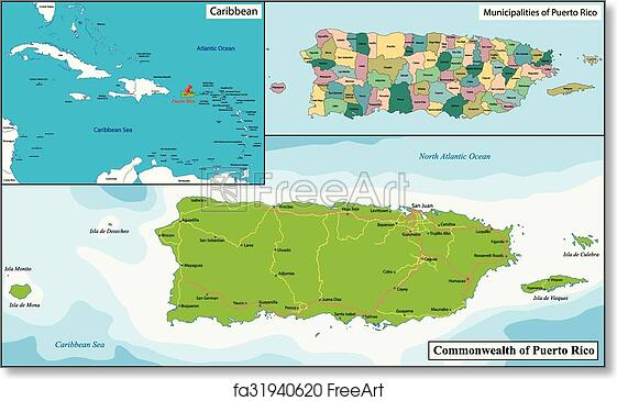 photo regarding Printable Maps of Puerto Rico titled Free of charge artwork print of Puerto Rico map