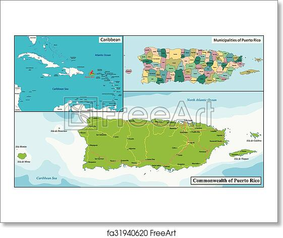 Free art print of Puerto Rico map
