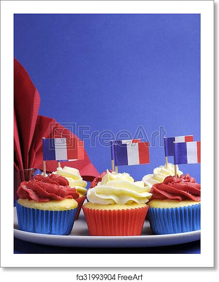 Free Art Print Of French Theme Red White And Blue Mini Cupcake
