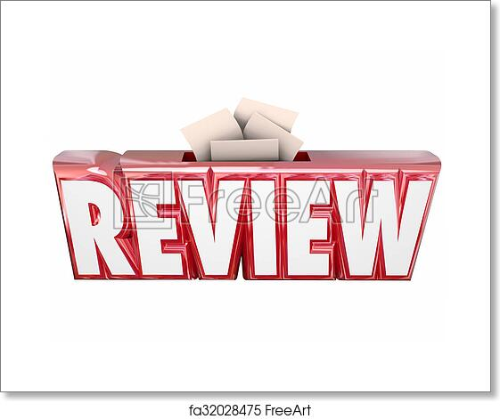 Free art print of Review 3d Word Collection Suggestion Score Card Box