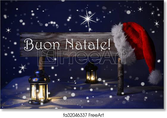 Immagini Free Natale.Free Art Print Of Sign Candlelight Santa Hat Buon Natale Means Merry Christmas