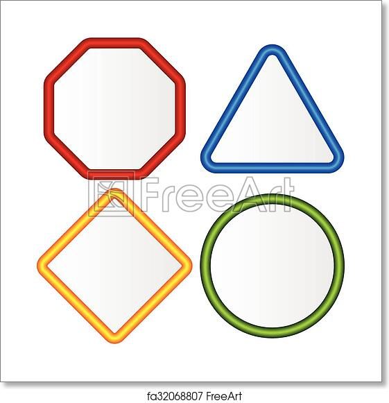 free art print of empty signs octagon triangle square circle