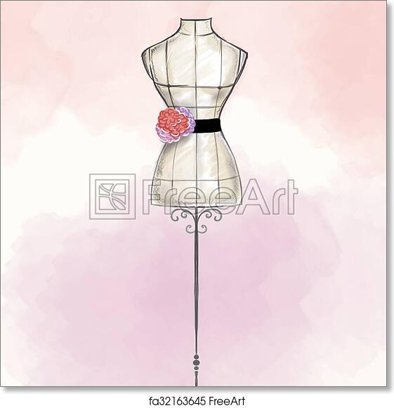 Free Art Print Of Hand Draw Fashion Illustration Hand Draw Fashion Illustration Watercolor Mannequin Wearing Gown Freeart Fa32163645