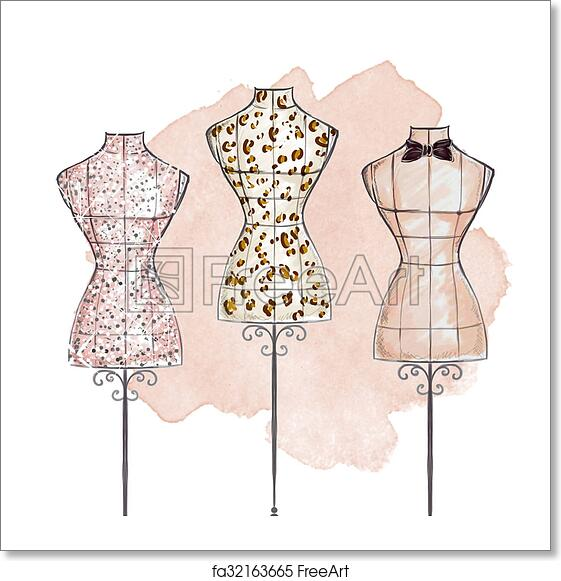 Free Art Print Of Hand Draw Fashion Illustration Hand Draw Fashion Illustration Watercolor Mannequin Wearing Gown Freeart Fa32163665