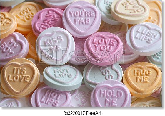 Free Art Print Of Love Heart Sweets A Pile Of Colourful Love Heart