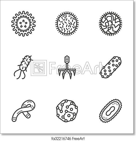 free art print of bacteria and virus black line vector icons set  samples of bacteria and virus