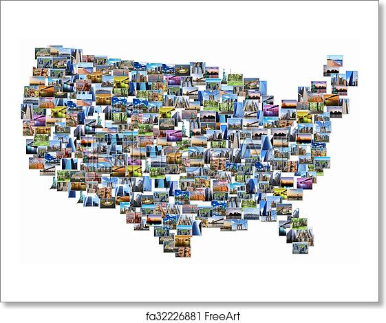 free art print of usa map collage