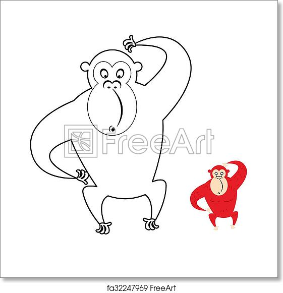 Free art print of Monkey coloring book. Red monkey makes surprise ...