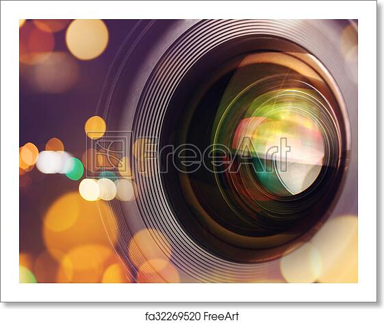 Free art print of Photographic camera lens with bokeh light