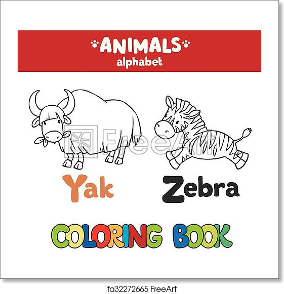 Free art print of Animals alphabet or ABC. Coloring book