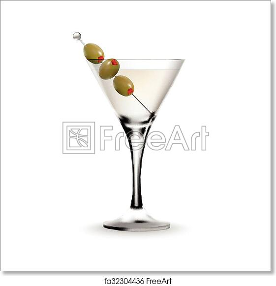 Free Art Print Of Martini Cocktail In A Glass With Olive Martini