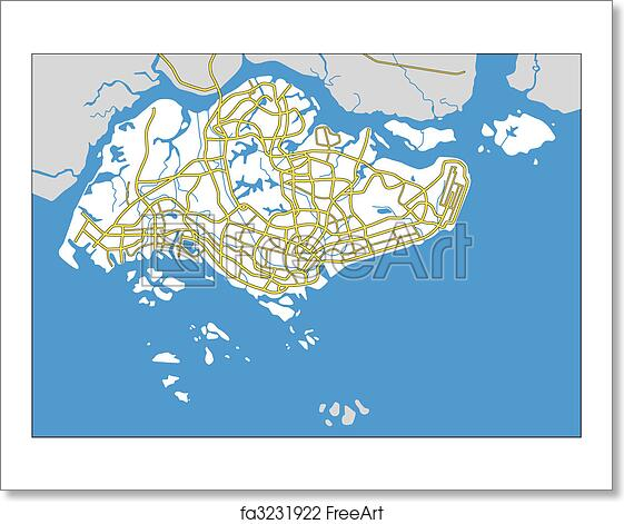 Free art print of Singapore. Vector map of Singapore. | FreeArt ...