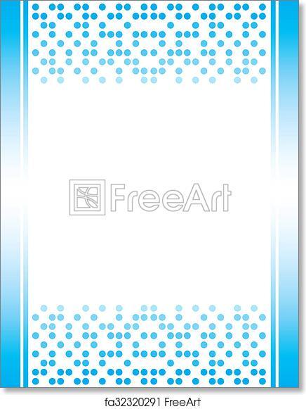 free art print of blue invitation letterhead border
