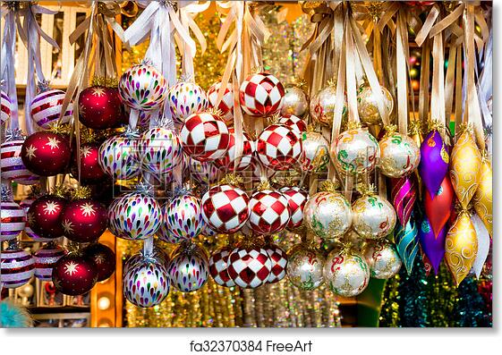 free art print of christmas market store and balls colorful christmas decorations
