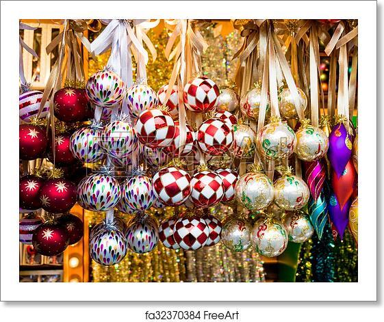 Colorful Christmas Balls.Free Art Print Of Christmas Market Store And Balls Colorful Christmas Decorations