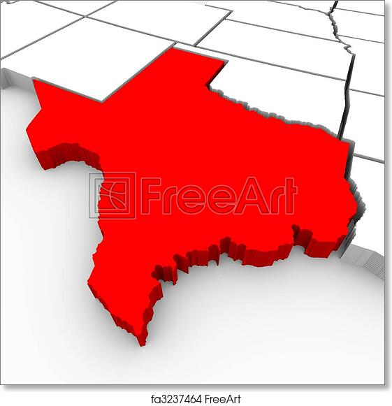 3d Map Of Texas.Free Art Print Of Texas Sate Map 3d Illustration
