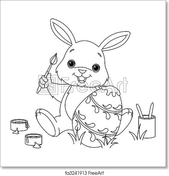 Free art print of Bunny Painting Easter egg coloring page. Coloring ...