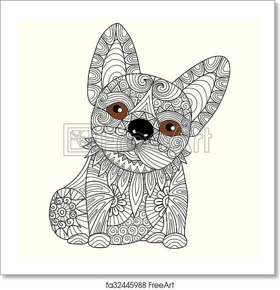 Free Art Print Of Bulldog Puppy Coloring Page Hand Drawn Zentangle French Bulldog Puppyfor Coloring Page Freeart Fa32445988