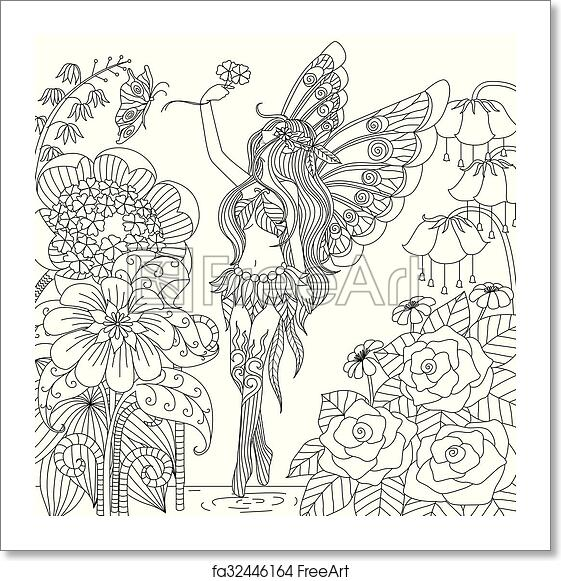 Free art print of Fairy tail coloring. Fairy flying in forest for ...