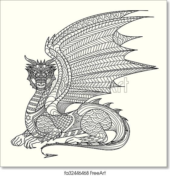 Free Art Print Of Dragon Coloring Page. Dragon Line Art Design For Coloring  Book For Adult, Tattoo, T Shirt Design And So On FreeArt Fa32446468
