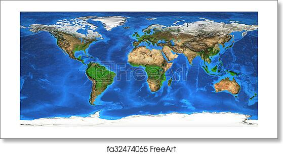Free Art Print Of High Resolution World Map And Landforms Detailed