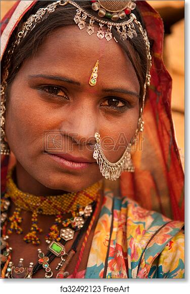 Free art print of Portrait of traditional Indian girl