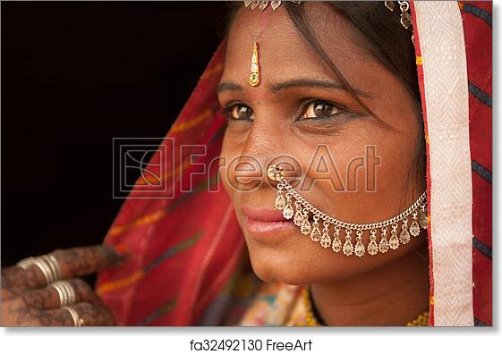 1363ddb1e6 Free art print of Portrait of traditional Indian female in saree ...