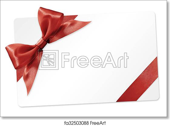 Free Art Print Of Gift Card With Red Ribbon Bow Isolated On White