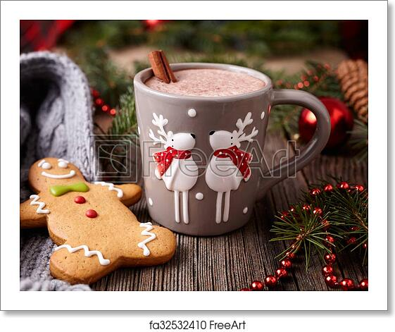 Free Art Print Of Cup Of Hot Chocolate Or Cocoa Drink With Two Cute Deer Cinnamon And Gingerbread Man Christmas Cookies In New Year Tree Decorations