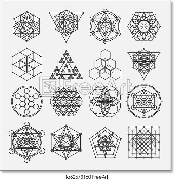 free art print of sacred geometry vector design elements alchemy