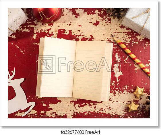 free art print of christmas concept notebook paper deer retro