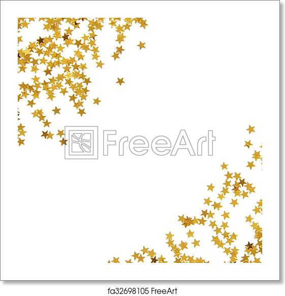 Free art print of Golden star shaped confetti frame. Golden star ...