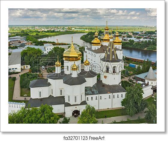 Free art print of Aerial view on Holy Trinity Monastery  Tyumen