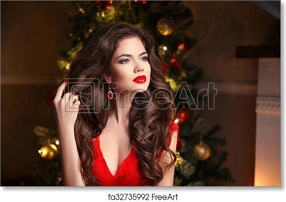 Free Art Print Of Long Hair Makeup Christmas Woman Beautiful Girl