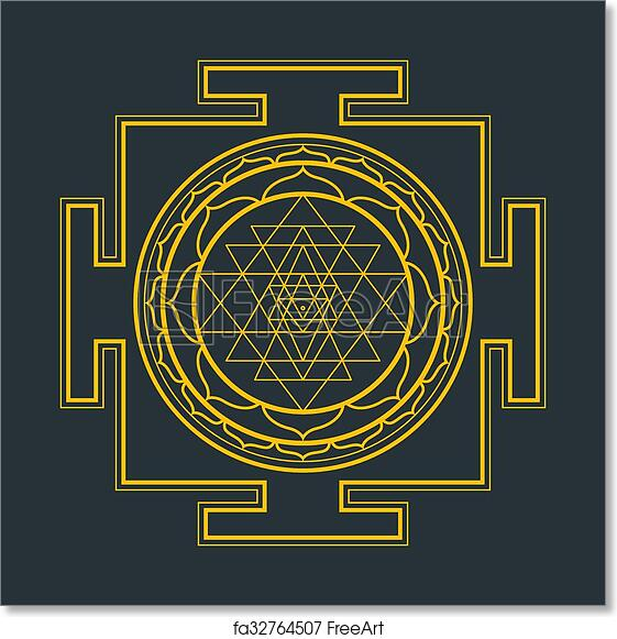 monocrome outline sri yantra illustration free art print of monocrome outline sri yantra illustration vector