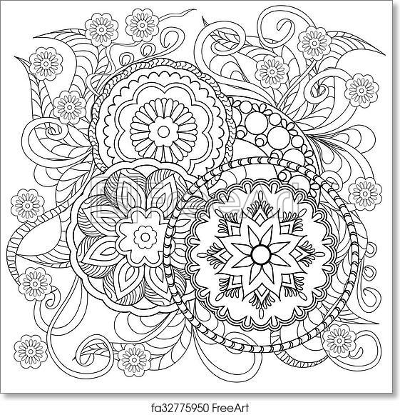 Free art print of Doodle flowers and mandalas