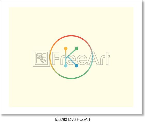 free art print of abstract letter k logo design template colorful lined creative sign universal vector icon