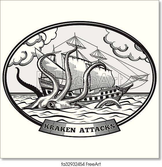 Free art print of Sailing ship and Kraken monster octopus vector emblem in  hand drawn style