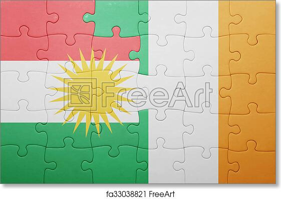 graphic relating to Flag of Ireland Printable titled No cost artwork print of Puzzle with the nationwide flag of eire and kurdistan