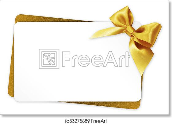 Free Art Print Of Gift Card With Golden Ribbon Bow Isolated On White