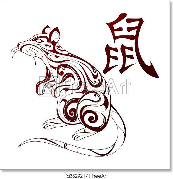 Free Art Print Of Rat As Symbol For Chinese Zodiac Ornamental Rat